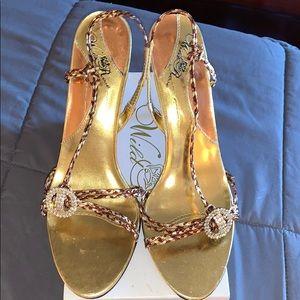 3 1/2 inch gold stiletto sandals